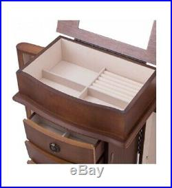 Wooden Jewelry Armoire with Mirror Storage Chest Box Stand 8 Drawer Cabinet