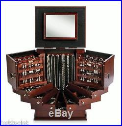 Wooden Jewelry Box Drawers Organizer Cabinet Storage Armoire Stand Case Gift New