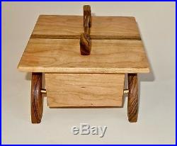 Wooden Jewelry Box Hand Made Unique One Of A Kind Cherry Wood, Bocote, Brass