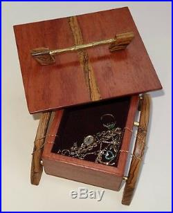 Wooden Jewelry Box Hand Made Unique One Of A Kind Exotic Bubinga, Bocote, Brass