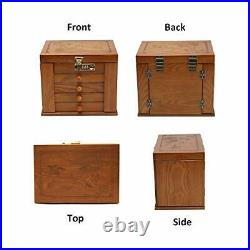 Wooden Jewelry Box Organizer with Combination Lock for 4 Drawers Dark Natural