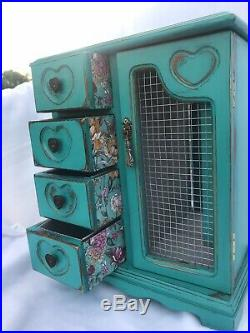 Wooden Jewelry Box Teal Floral Vintage Handmade Farmhouse Distressed Upcycled