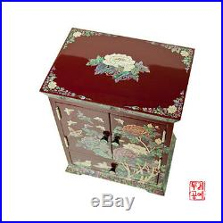 Wooden Jewelry Box of Drawers Inlaid with Mother-of-Pearl Jewelry armoire- Red