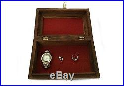 Wooden Jewelry Box with Triple Elephant Inlay Work, Gift for Christmas or to
