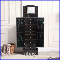 Wooden Jewelry Cabinet 8 Drawers Armoire Box Storage Chest Stand Organizer
