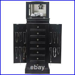 Wooden Jewelry Cabinet Armoire Box Large Storage Space Organizer Drawer NEW