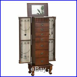 Wooden Jewelry Cabinet Armoire Box Storage Chest Stand Hidden Mirror Christmas