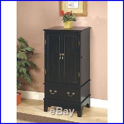 Wooden Jewelry Cabinet Armoire Box Storage Chest Stand Organizer Necklace Black