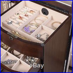 Wooden Jewelry Cabinet Armoire Box Storage Chest Stand Organizer for Necklace