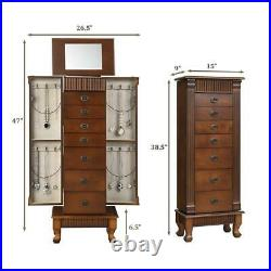 Wooden Jewelry Cabinet Armoire Box Storage Organizer Chest Stand With Drawers
