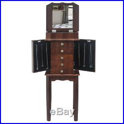 Wooden Jewelry Cabinet Armoire Storage Chest Stand Organizer Case Free Standing
