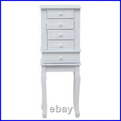 Wooden Jewelry Cabinet Storage Armoire 7 Drawers Standing Chest Box White HE