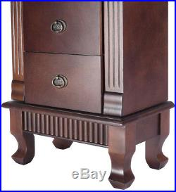 Wooden Jewelry Cabinet Storage Organizer with 7 Drawers Free Standing Mirror Top