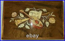 Wooden Jewelry/Music Box Inlaid with Musical Instruments made in Italy