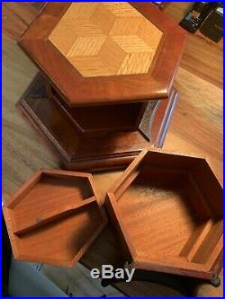 Wooden Jewelry Puzzle Box With 3 Layers
