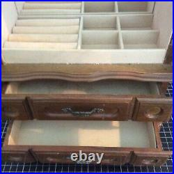 Wooden Jewelry Storage Cabinet with 2 Drawers with Jewelry Box Rings Display Case