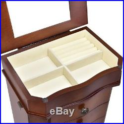 Wooden Mirrored Armoire Storage Chest Box Jewelry Cabinet Organizer with 5 Drawers
