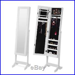 Wooden Mirrored Jewelry Cabinet Armoire Organizer Storage Chest Box with Stand