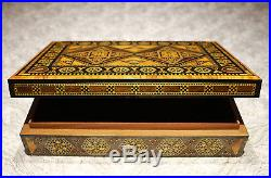 Wooden Mosaik Jewellery Box handmade with mother-of-pearl, Damaskunst K 1-9-41