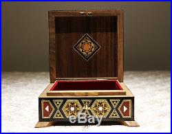 Wooden Mosaik Jewellery Box handmade with mother-of-pearl, Damaskunst K 1-9-42