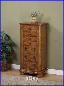 Wooden Porter Valley Jewelry Armoire Storage Cabinet With Drawers Distressed Oak