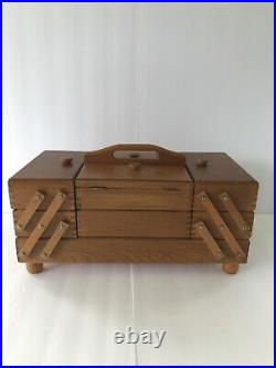 Wooden Romania Jewelry, Make Up, Sewing Box Dovetail 3 Tier 8 Compartment NOS