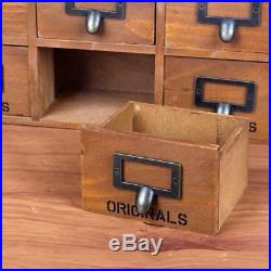 Wooden Storage Cabinet Desk Boxes Holders Retro Makeup Shelf Jewelry 9 Drawers