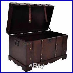Wooden Treasure Chest Box Storage Cabinet Vintage Pirate Coffee Table Furniture