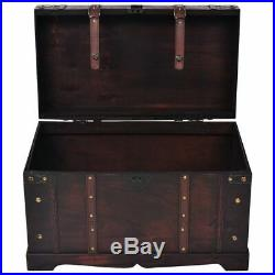 Wooden Treasure Chest Jewelry Box Large Storage Organizer Trunk Coffee Table USA