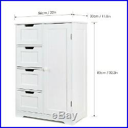 Wooden White Storage Cabinet Organizer For Small Spaces Bathroom Home Office