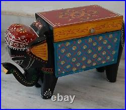 Wooden hand painted elephant jewelry box beautiful embossed painting home decor