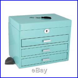 XL Size Tiffany Blue High Lacquer Jewellery Box with Luxury Lining by Aevitas