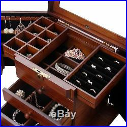 XL Wooden Jewelry Box Storage Case Organizer Chest Drawer Rings Necklace Armoire