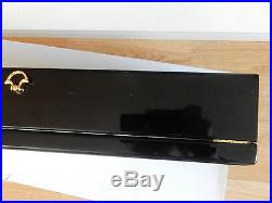 XXL BLACK PANDORA DOUBLE WOODEN JEWELLERY BOX WITH LOCK AND CLASS TOP